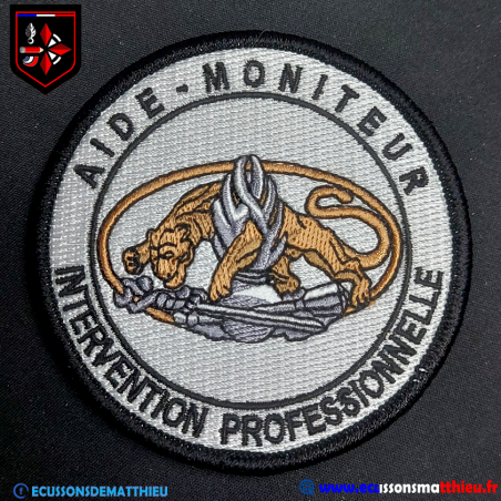 Ecusson AMIP Blanc Aide-Moniteur Intervention Professionnelle Gendarmerie